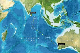 The planned expedition route with the different working areas in the Indian Ocean from June to July 2017.