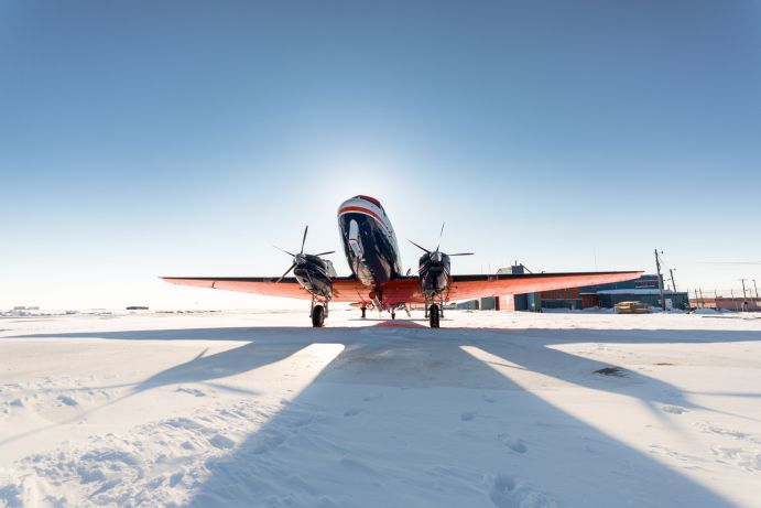 Frontal view of an AWI research aircraft at a stop in Barrow, Alaska