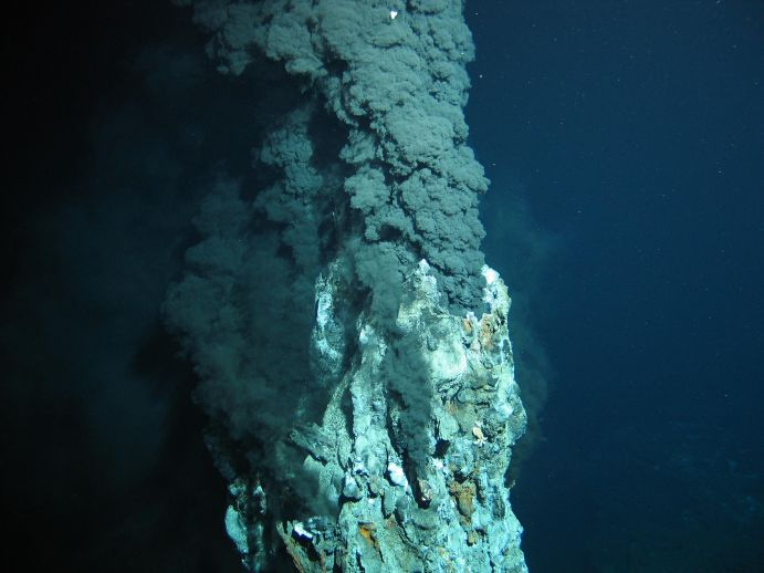 Black smoker on the seafloor.