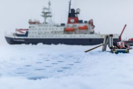 The German research vessel Polarstern during an ice station.