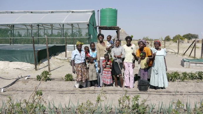 Farmers at the CuveWaters Green Village in Epyeshona