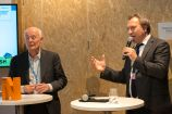 "Hans Joachim Schellnhuber (PIK) und René Haak (BMBF) bei der German Science Hour ""Transformation - turning the climate tide"", Deutscher Pavillon, COP 23, Bonn"