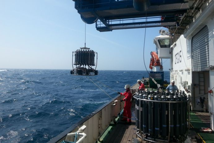 Water sampling in the Celtic Sea with a clean CTD System.