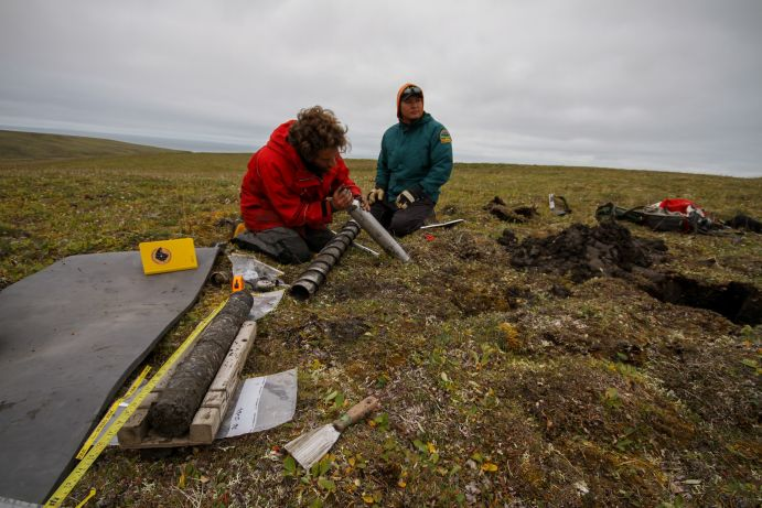 Field Station at the Ice Creek. Extracted core from the permafrost soil, Yukon, Canada