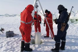 German and Russian scientists in the Siberian Laptev Sea (TRANSDRIFT XX Expedition to the Laptev Sea, March and April 2012).