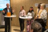 "Hans Joachim Schellnhuber (PIK), Dorothea Epperlein (JBZE), Genevieve Jiva (PICAN) Jean Paul Brice Affana (Germanwatch) und die Moderatorin Conny Czymoch bei der German Science Hour ""Transformation - turning the climate tide"", Deutscher Pavillon, COP 23, Bonn"